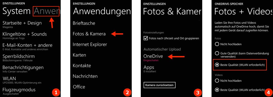 Bilder von  WIndows Phone in OneDrive automatisch hochladen