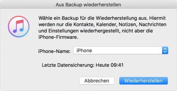 WhatsApp mit iTunes wiederherstellen