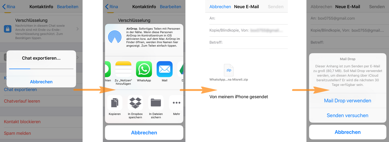WhatsApp Chat per Email senden