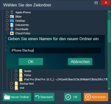iPhone Backup Ordner erstellen