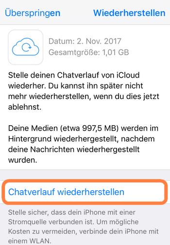 WhatsApp mit iCloud wiederherstellen