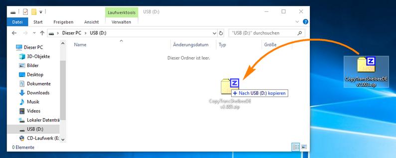 ZIP-Datei auf USB-Stick kopieren