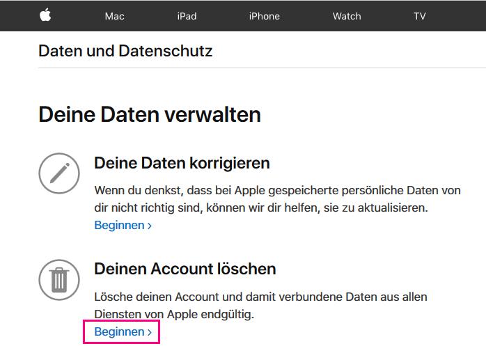 Apple Konto löschen