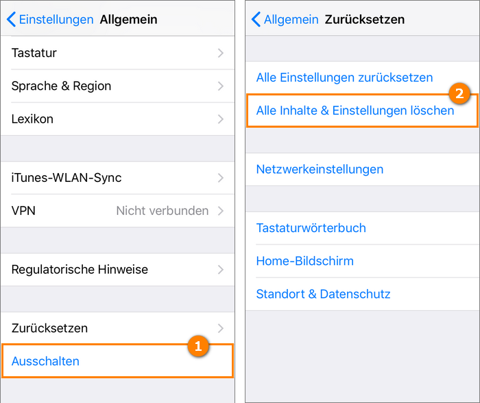 Alle Inhalte und Einstellungen auf iPhone löschen und iCloud Sperre entfernen