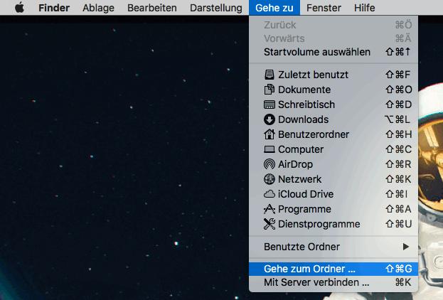 Gehe zum Ordner auf Mac