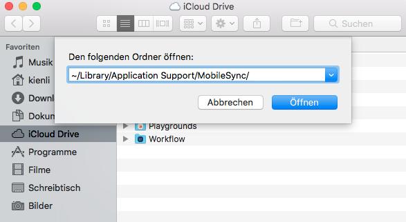 iTunes Backup Ordner auf Mac verschieben