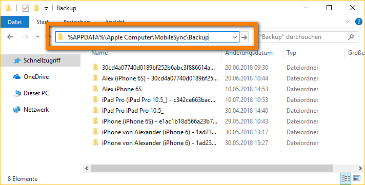 itunes ordner fur iphone backup andern