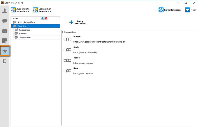 iPhone Lesezeichen am PC verwalten