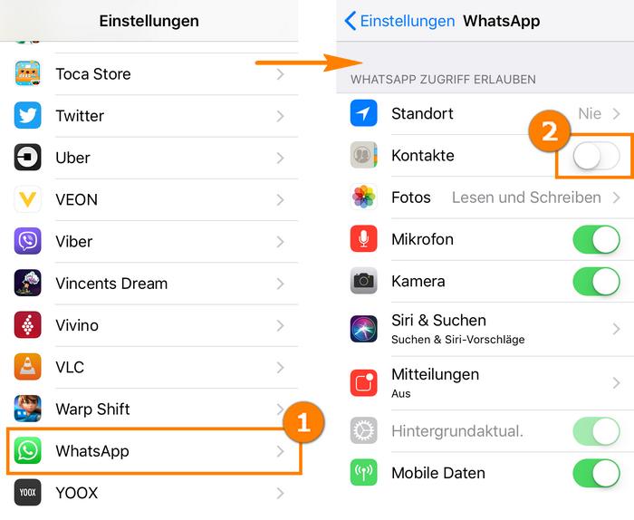 Kontakte in WhatsApp nicht sichtbar machen