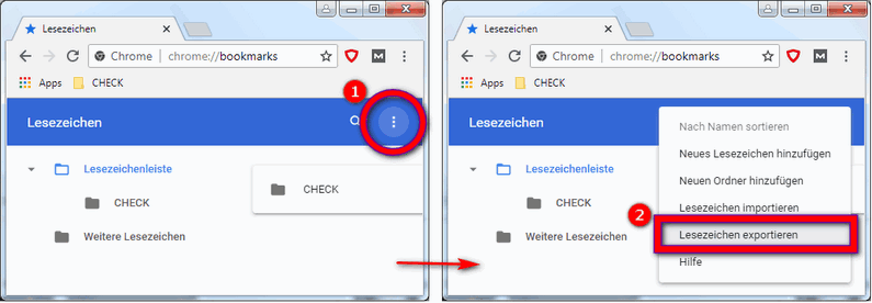 Google Chrome Lesezeichen speichern