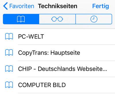 iPad Lesezeichen bearbeiten und verwalten