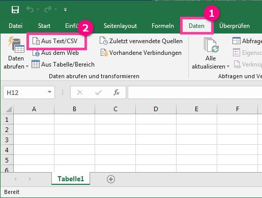 CSV Datei in Excel öffnen