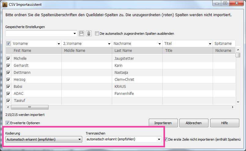 Kodierung in der CSV-Kontaktdatei ändern