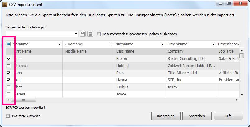 Kontakte aus CSV-Datei teilweise importieren
