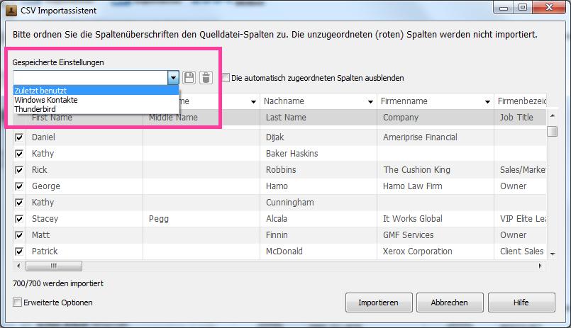 Einstellungen beim Kontakteinmport aus Excel sichern