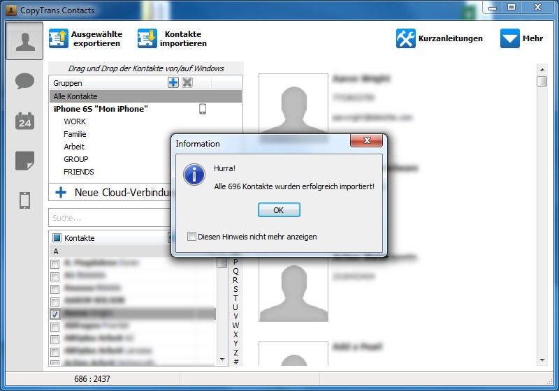 Der Import der Kontakte aus der CSV oder Excel Datei mit CopyTrans Contacts greich