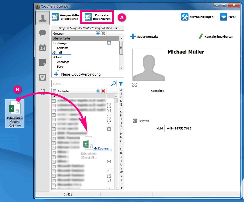 CSV Kontakte auf iPhone importieren