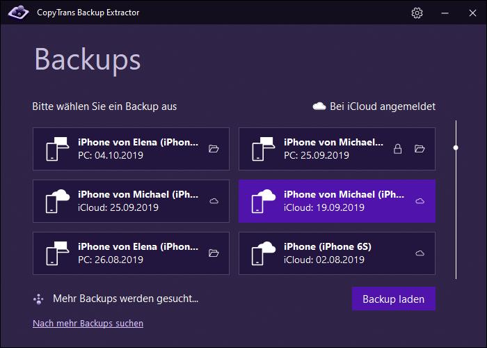 iCloud Backup im Programm auswählen