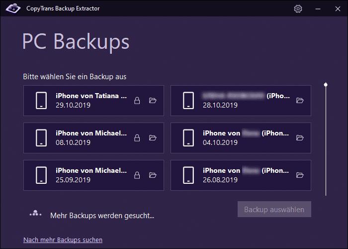 Liste von iOS-Backups