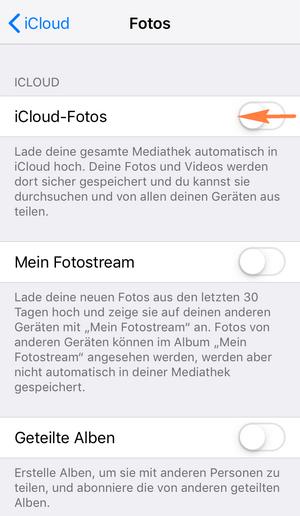 iPhone Fotos löschen aber in iCloud behalten