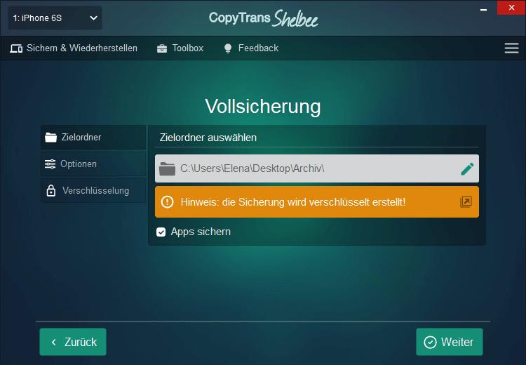 Zielordner in CopyTrans Shelbee auswählen