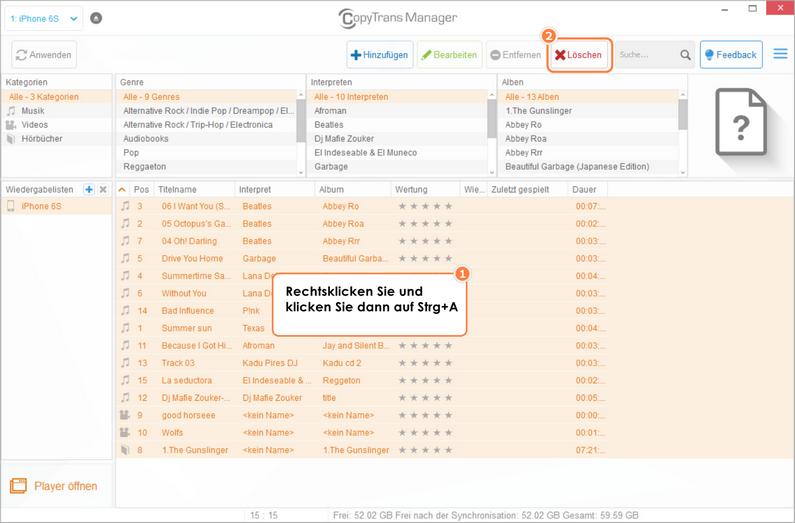 Wie man alle Tracks in CopyTrans Manager löschen kann