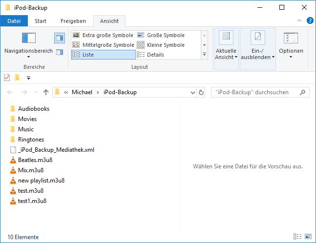 mit CopyTrans gespeicherte Daten