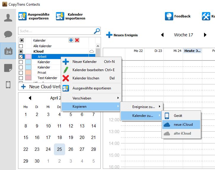 Kalender von iCloud zu iCloud übertragen