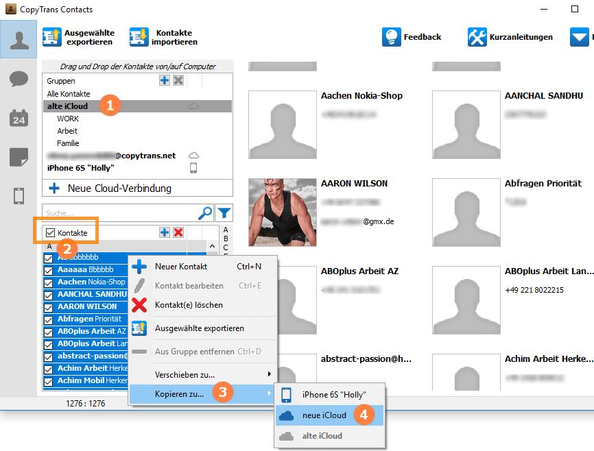 Apple ID ändern: Kontakte von iCloud zu iCloud übertragen