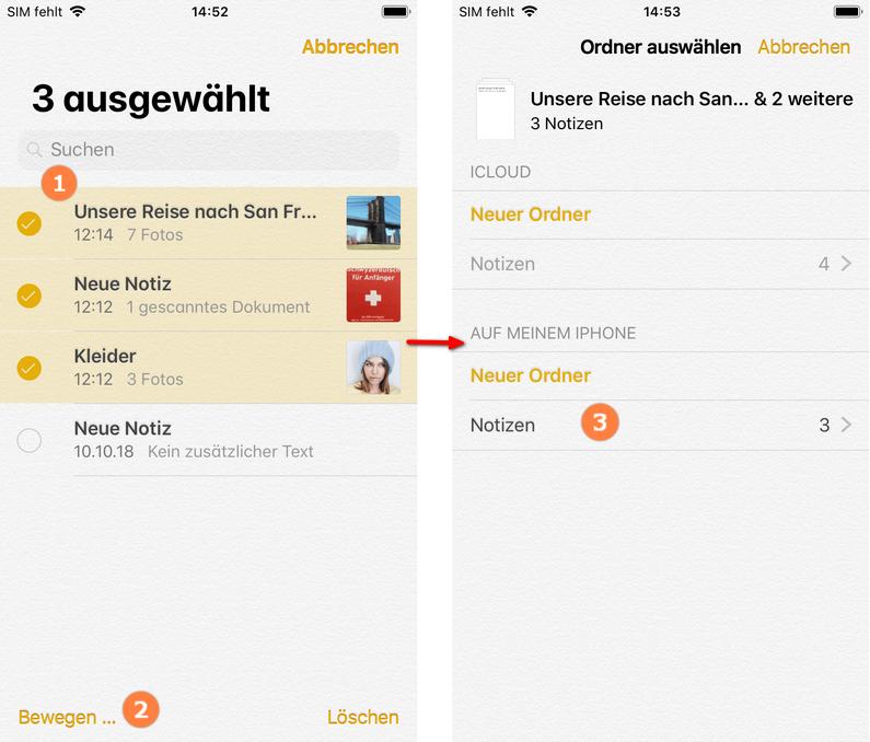 Notizen aus iCloud auf iPhone übertragen