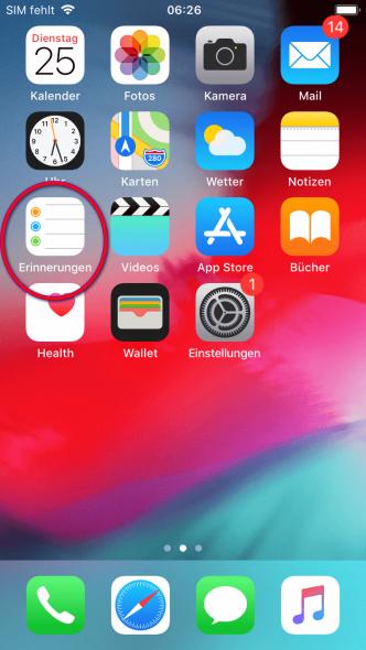 Erinnerungs App iPhone