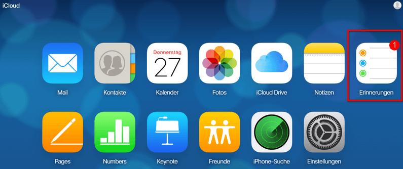 Erinnerungen in iCloud