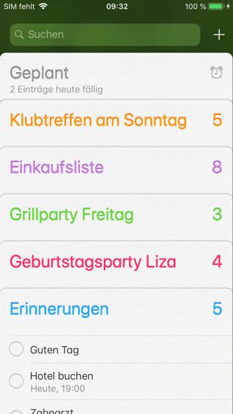 iOS Erinnerungen