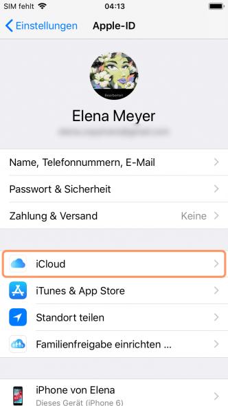 iCloud am iPhone