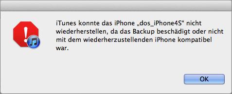 iPhone Backup beschädigt oder nicht kompatibel