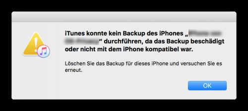 iPhone Backup nicht kompatibel