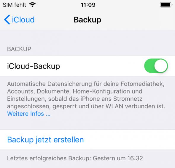 iCloud Backup aktiviert