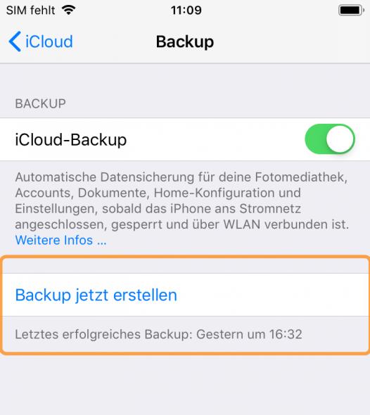 iCloud Backup erstellen