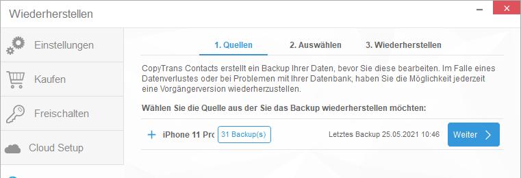 iPhone Kontakte Backups in CopyTrans Contacts
