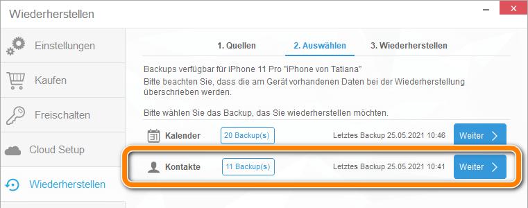 Kontakte Backup auf iPhone wiederherstellen
