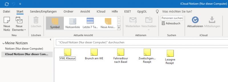 iCloud Notizen in Outlook anzeigen