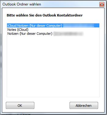 Wählen Sie den Outlookordner aus
