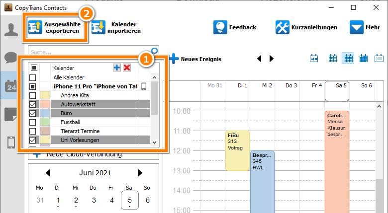 iPhone Kalender exportieren Outlook