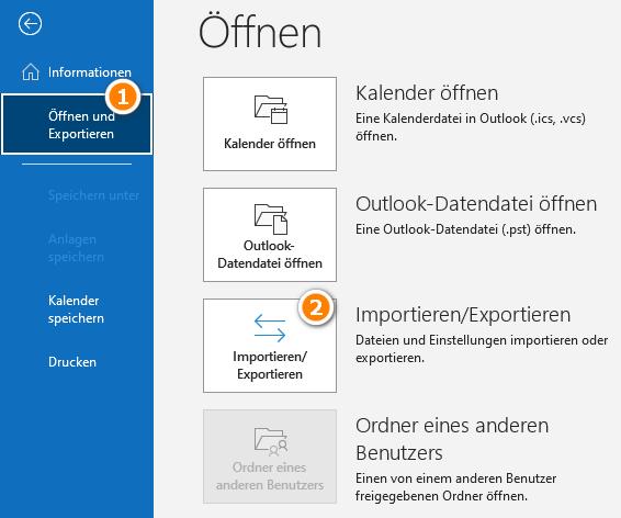 Kalender in Outlook importieren