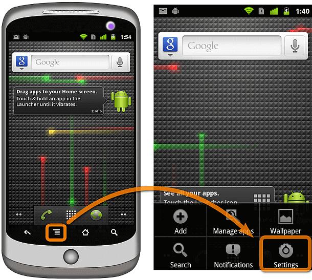 Android Einstellungen öffnen