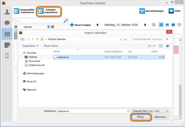 Outlook Kalender auf iPhone vom PC importieren