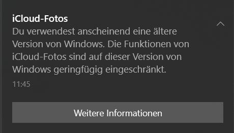 iCloud for Windows Fehler