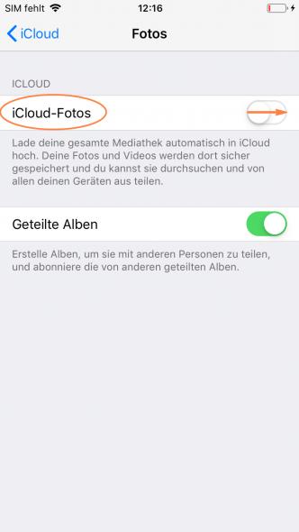 iCloud Fotos hochladen