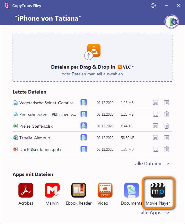 Video Player in CopyTrans Filey auswählen