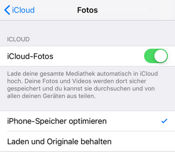 Die Funktion iCloud Fotos ist aktiviert
